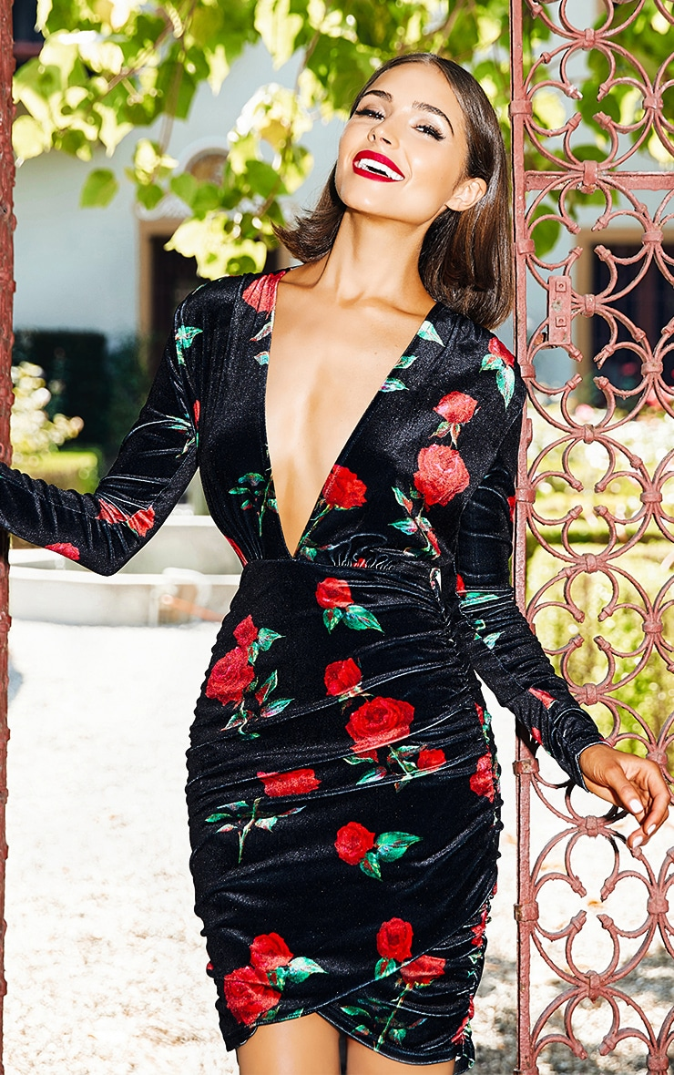 Black Floral Printed Velvet Ruched Bodycon Dress  2
