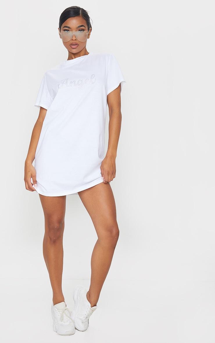 White Diamante Angel Slogan T Shirt Dress 3