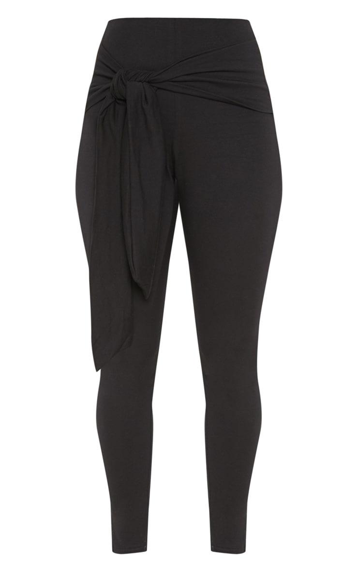 Black Cotton Tie Detail Leggings 3