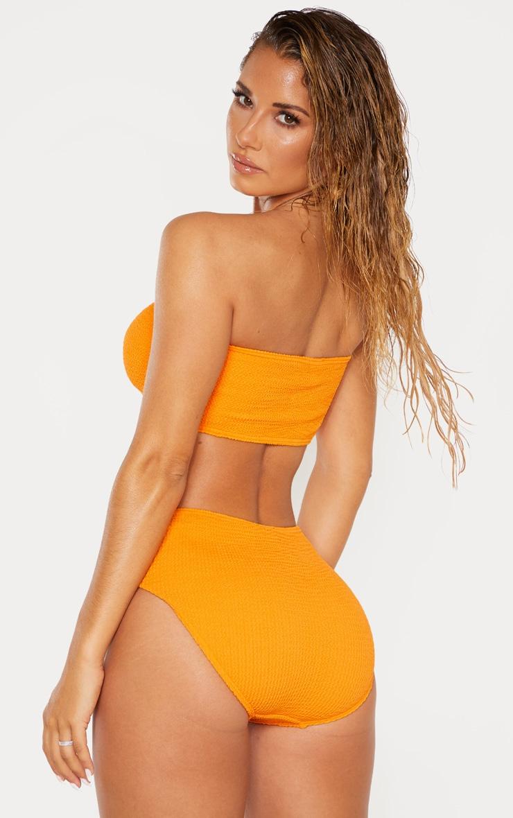 Orange Crinkle Bandeau Strapless Bikini Top 2