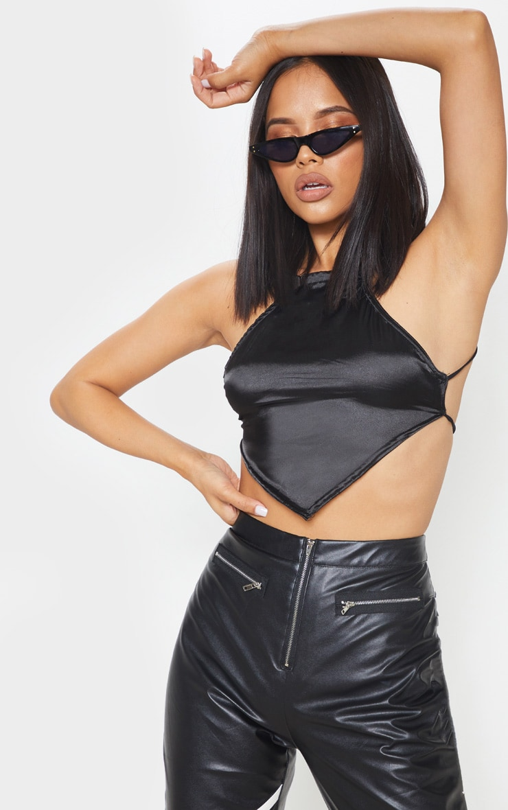 Black Backless Satin Crop Top 4