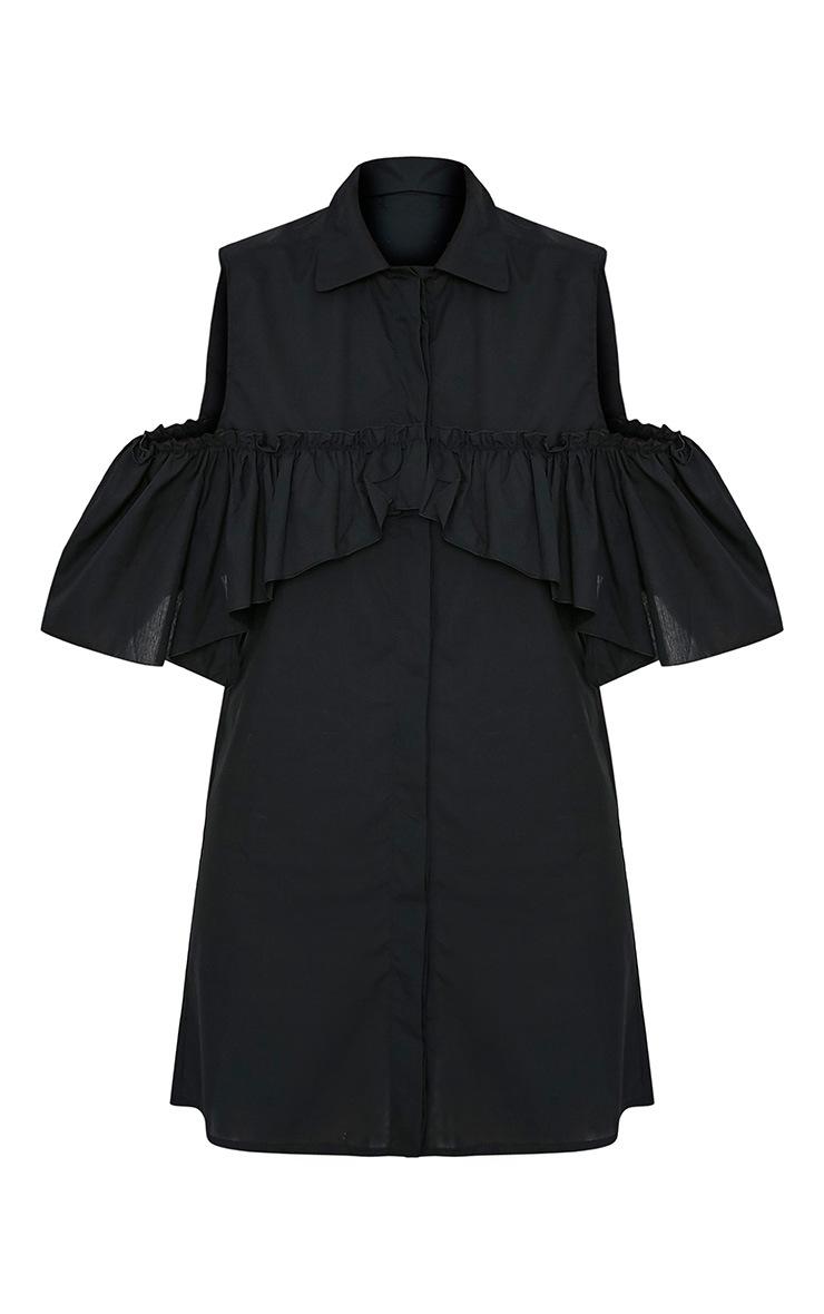 Ashlee Black Cold Shoulder Frill Detail Shirt Dress 3