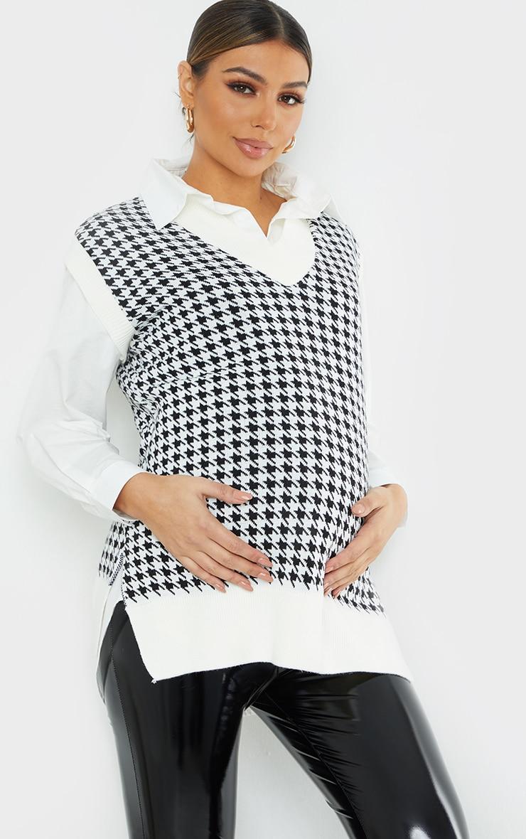 Maternity Black Dogtooth V Neck Knitted Side Split Vest 1