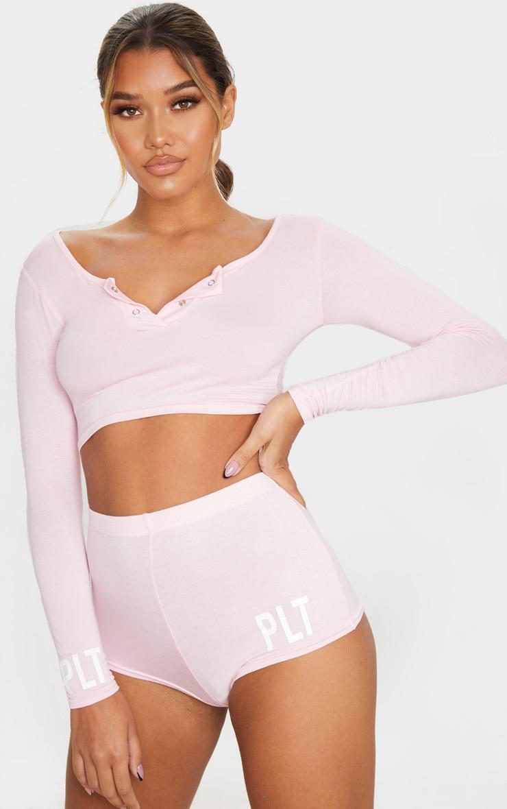 PRETTYLITTLETHING Pink Cuff Detail Short PJ Set 1