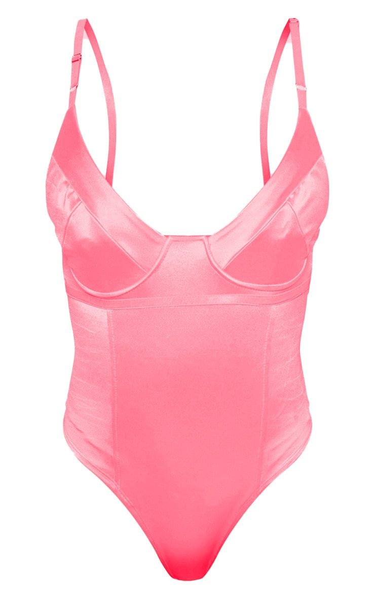 Pink Stretch Satin Cup Bodysuit 3