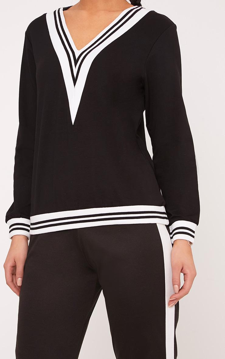 Deborah Black Stripe Trim V Neck Sweater 5