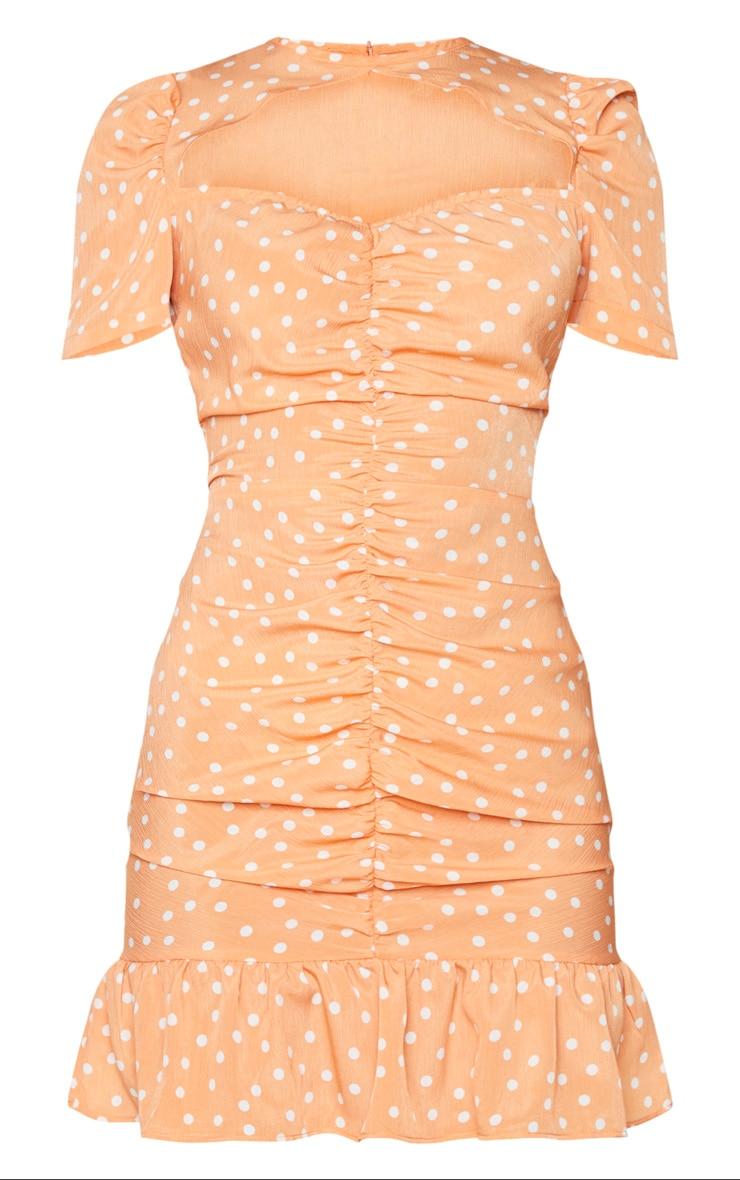 Orange Polka Dot Cut Out Ruched Bodycon Dress 5