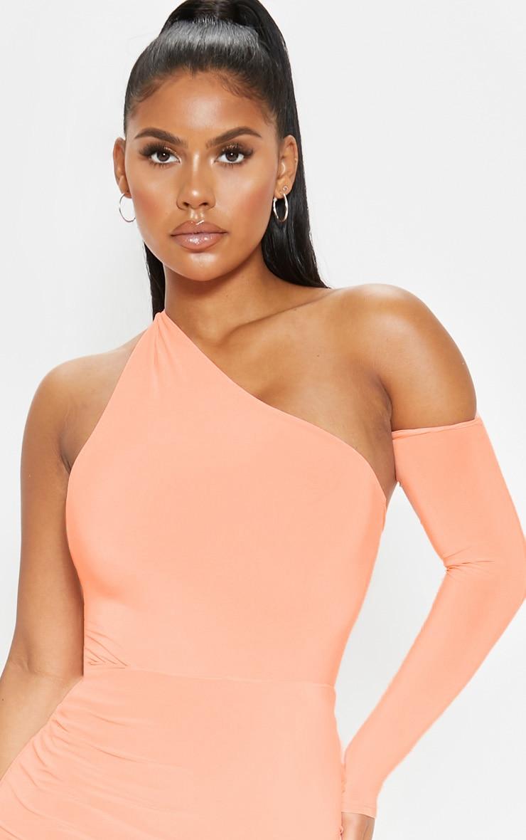 Peach One Shoulder Asymmetric Bodysuit  6