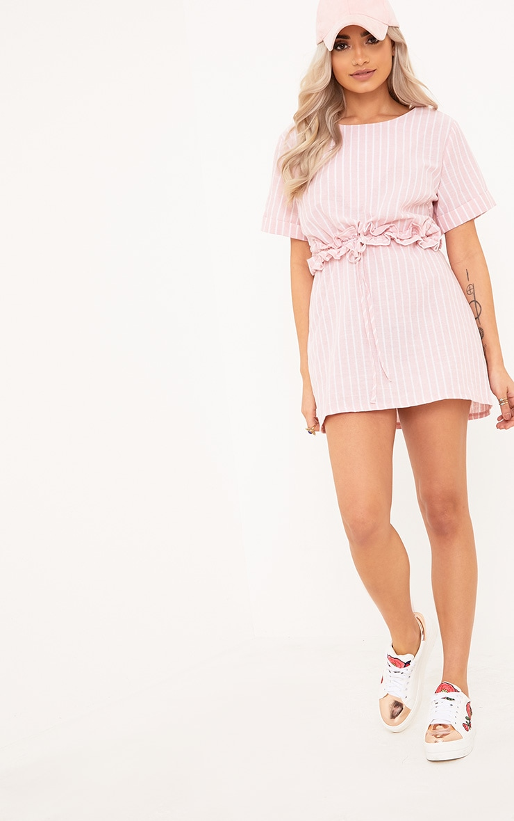 Kendrick Pink Pinstripe Frill Waist Detail Shift Dress 1