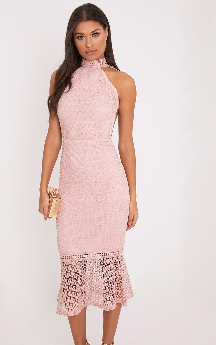 Kymmie Dusty Pink Lace High Neck Midi Dress 4