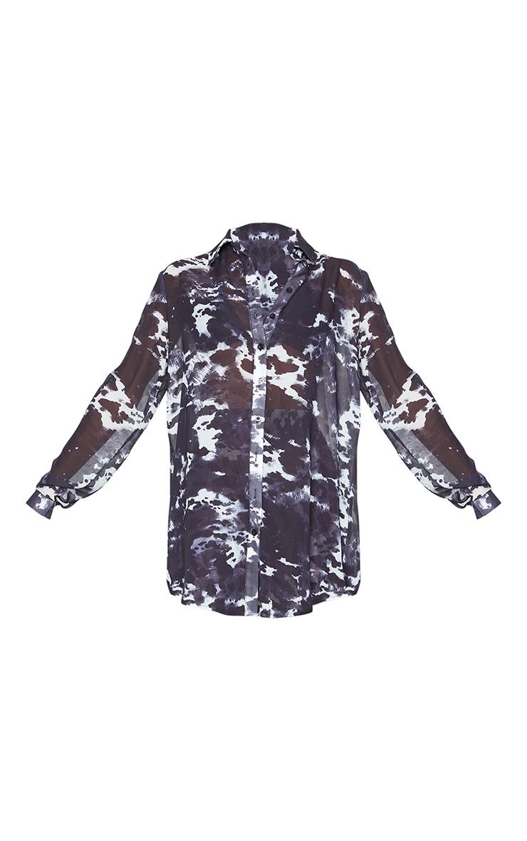 Monochrome Cow Print Beach Shirt 5