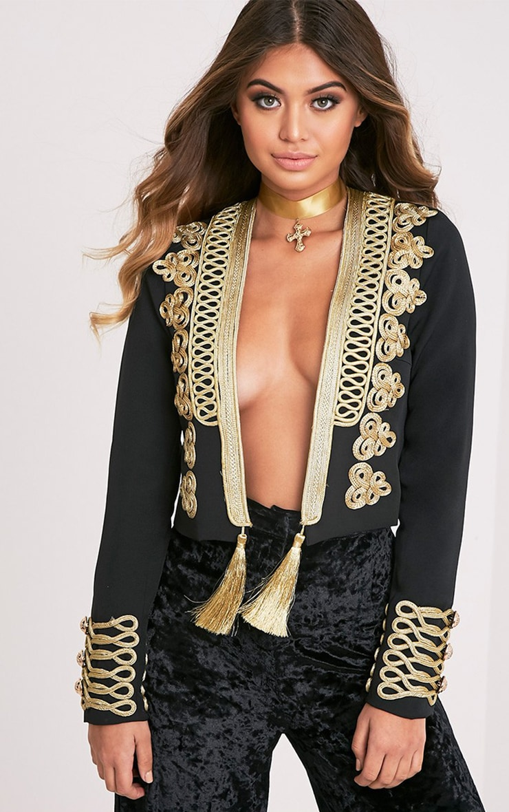 Cecilie Black Embroidered Crop Trophy Jacket 1