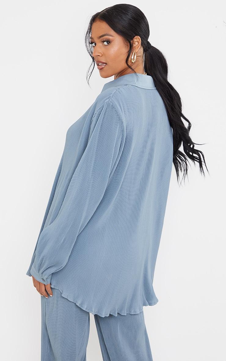 Tall  Blue Plisse Oversized Cuff Detail Shirt 2