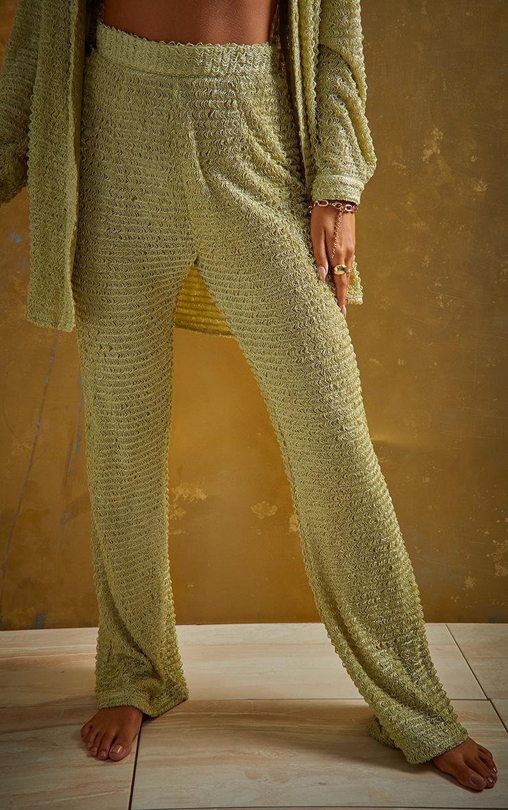 Green Textured Beach Trousers 2