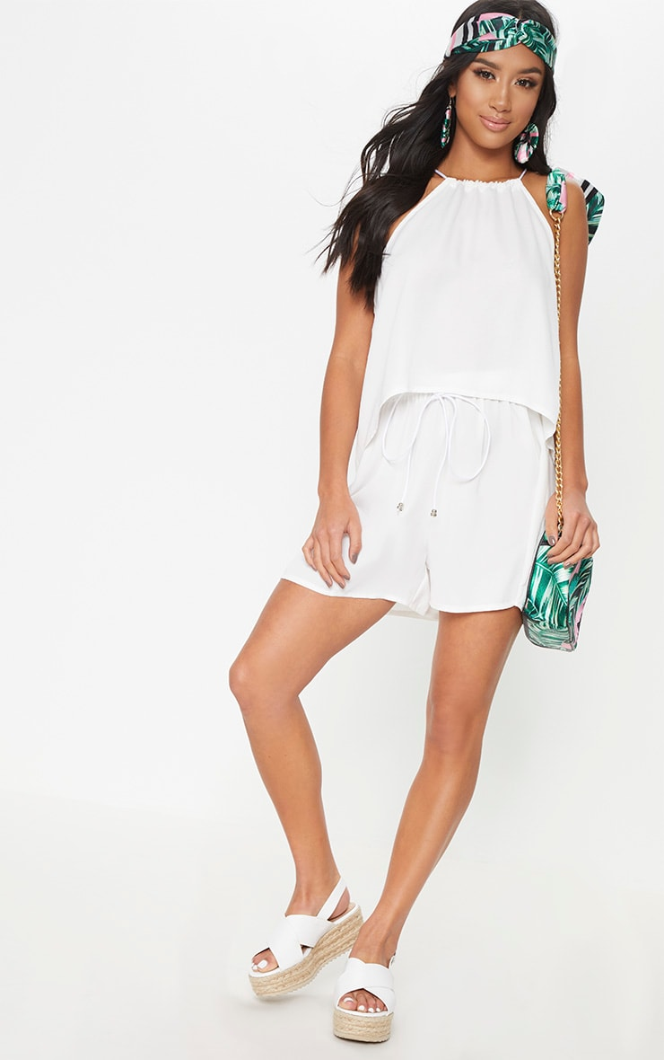 White Petite Floaty Shorts 5