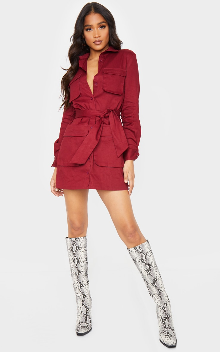 Berry Utility Tie Waist Shirt Dress 3