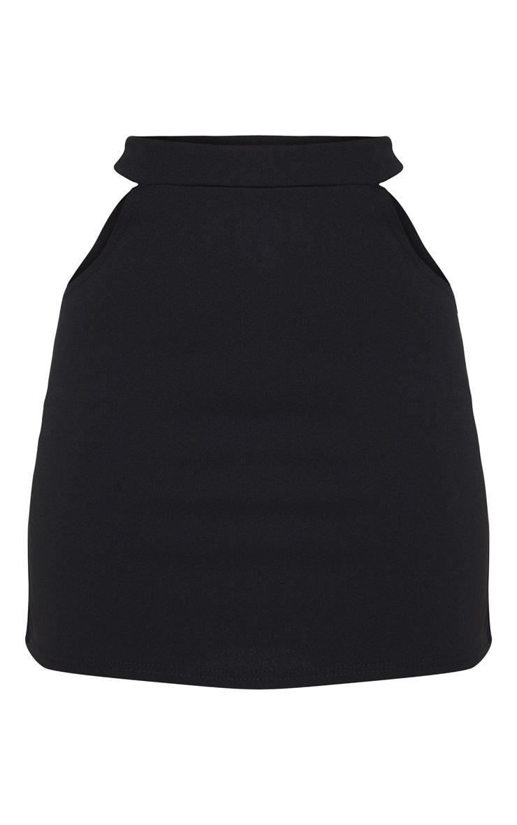 Petite Black Cut Out Side Mini Skirt 3