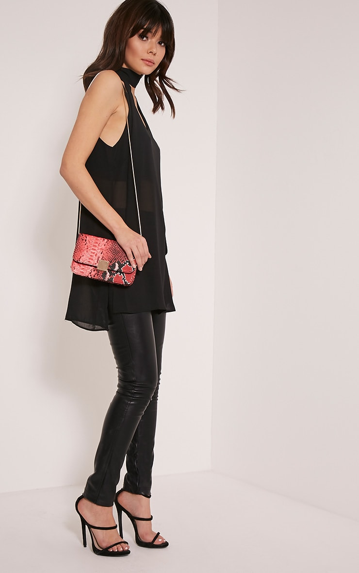 Harriet Red Snake Print Shoulder Bag 6