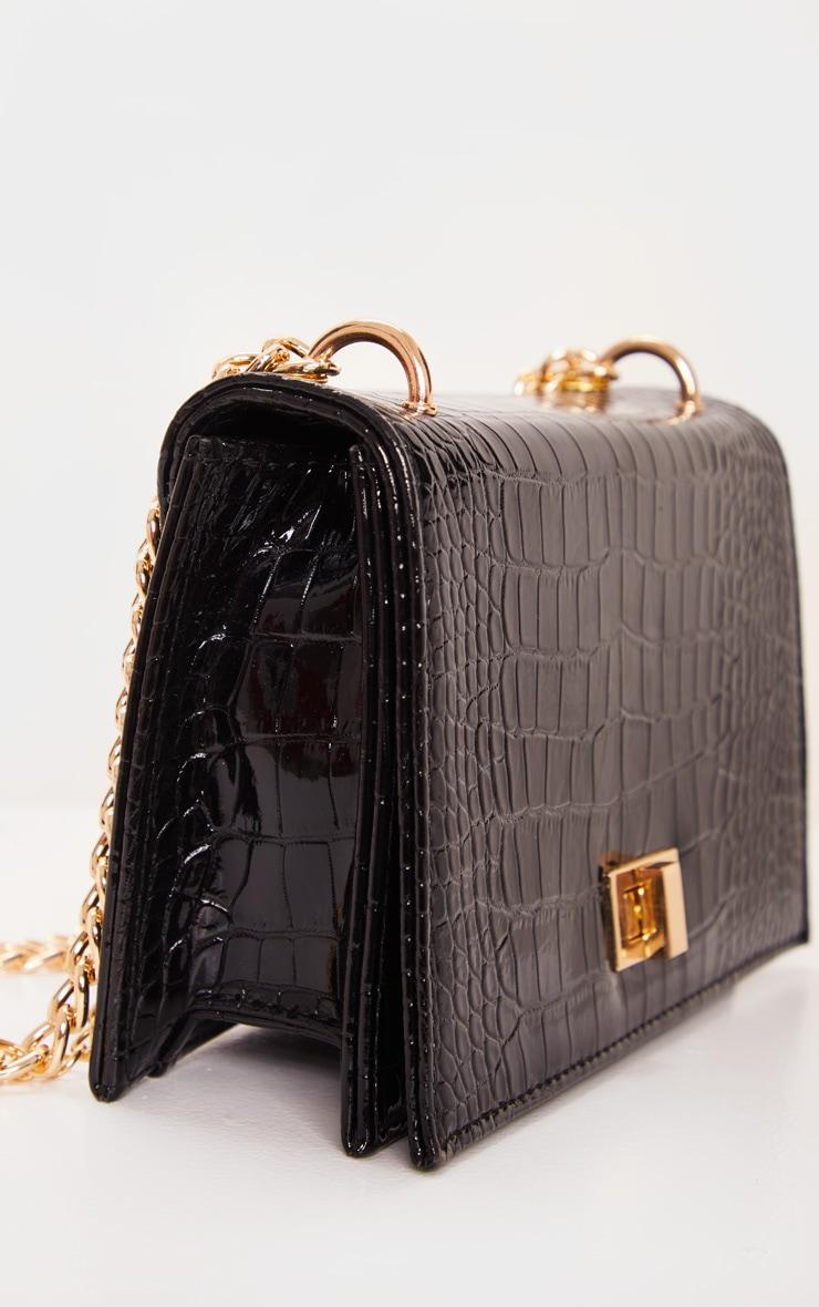 Black Patent Croc Flap Square Cross Body Bag 5