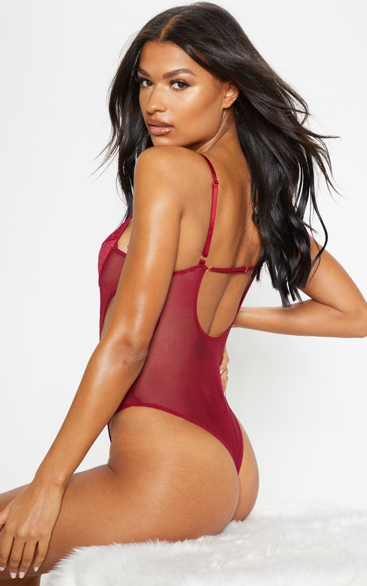 Plum Underwired Cut Out Lace And Mesh Body 2