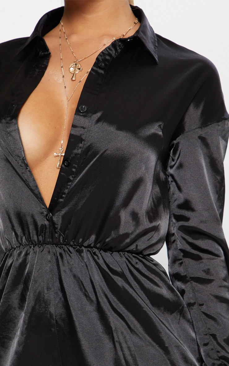 Black Satin Shirt Romper 5