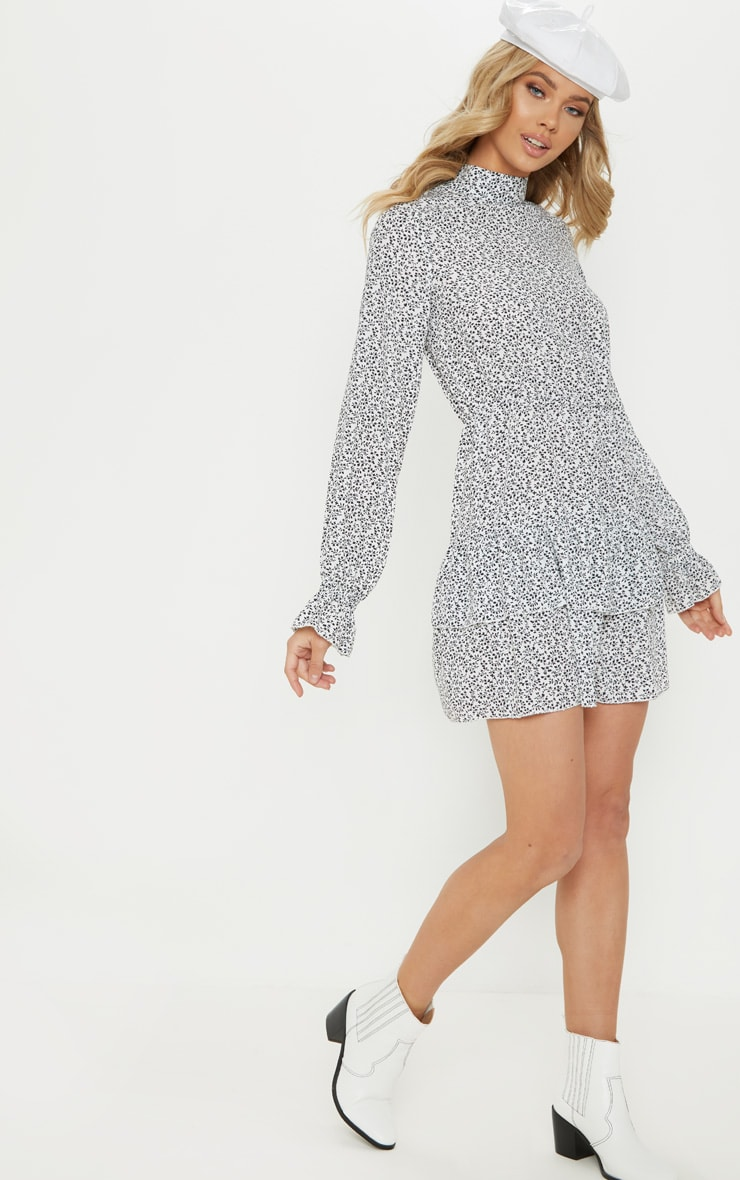 White Ditsy Leaf Print High Neck Tiered Shift Dress 4