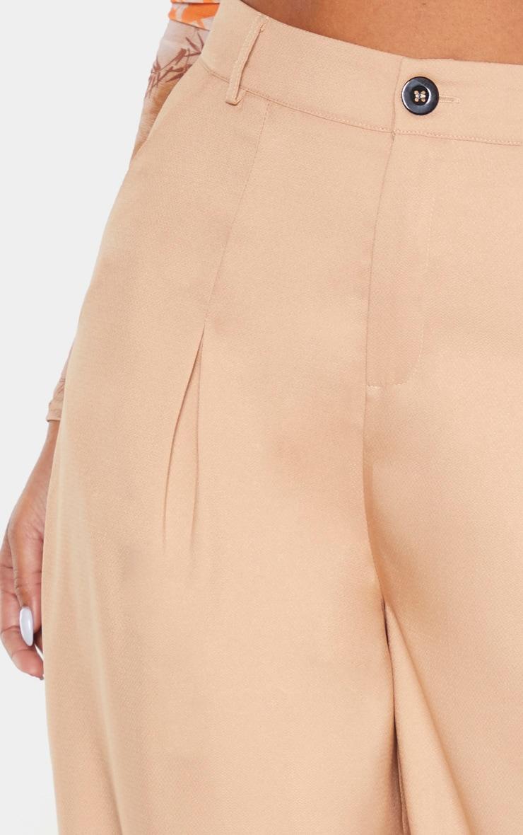 Camel Wide Leg Woven Pleat Trouser 5