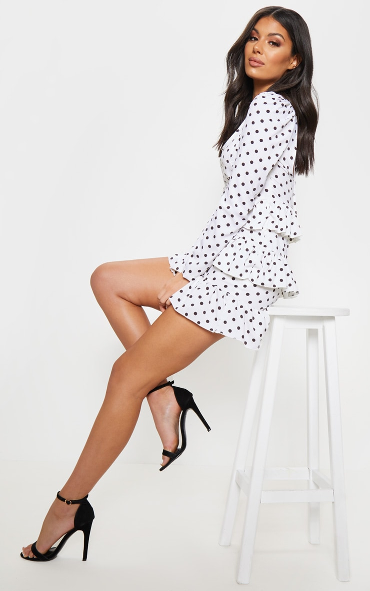 White Polka Dot Tie Back Tiered Frill Shift Dress 4