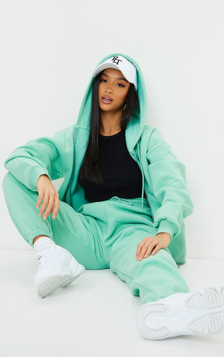 Petite Green Extreme Oversized Pocket Front Zip Through Hoodie 3