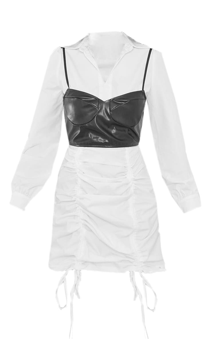 White Ruched PU Corset Shirt Style Bodycon Dress 5