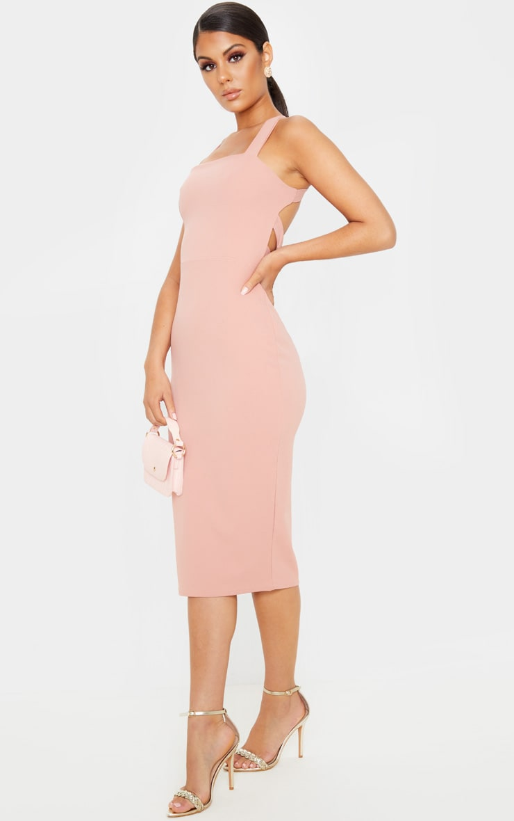 Dusty Pink Strappy Back Midi Dress 4