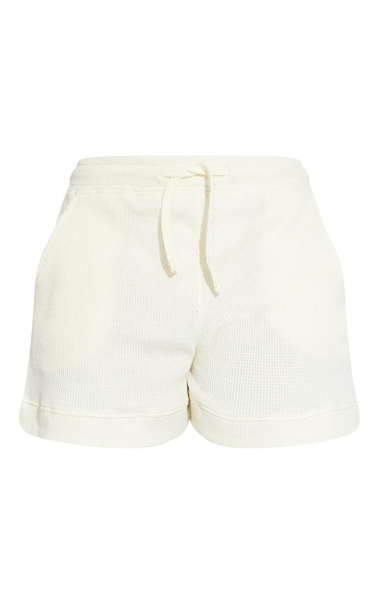 Cream Waffle Textured Runner Shorts 6