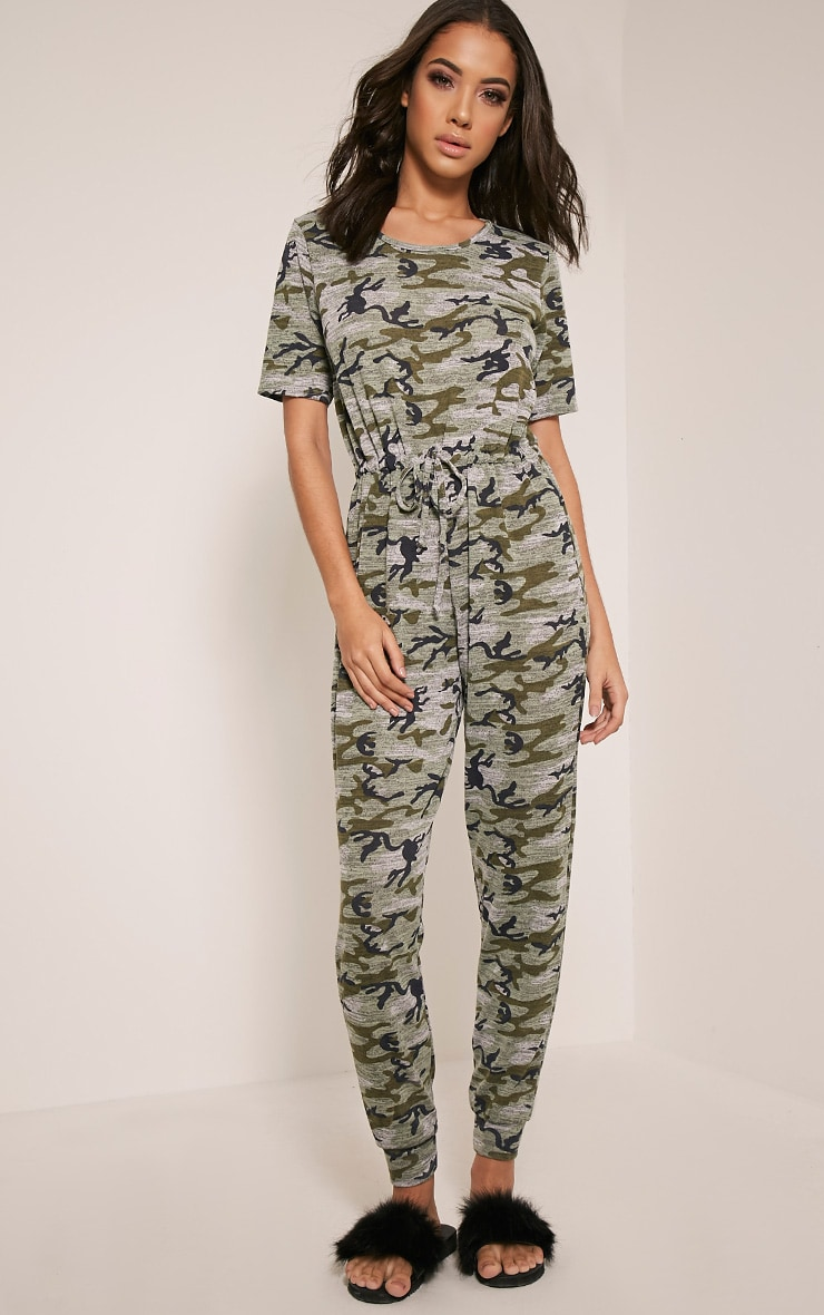 Kelsah Khaki Camouflage Casual Jumpsuit 5