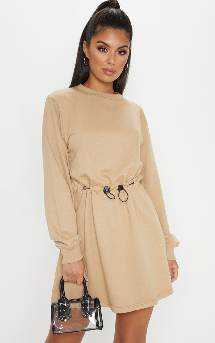 Sand Toggle Front Sweat Jumper Dress 1