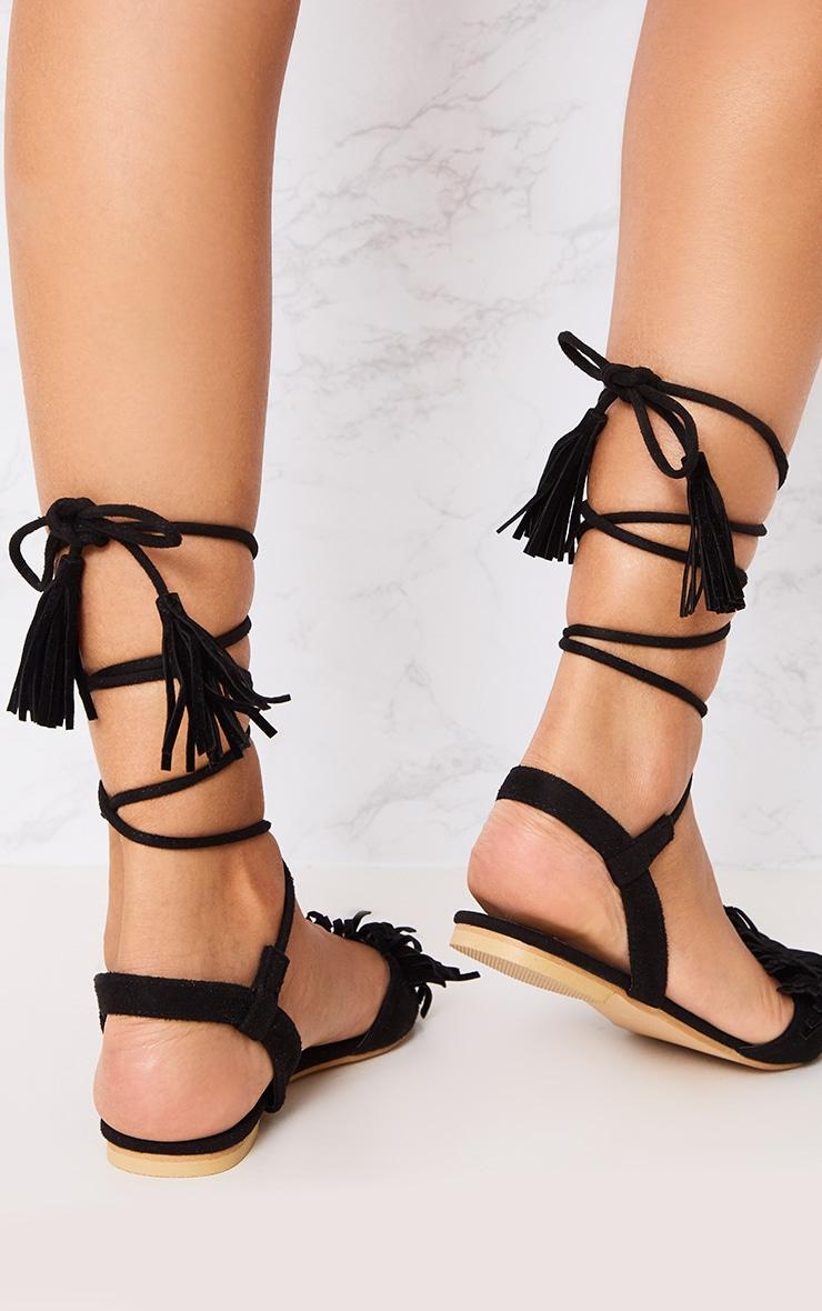 Alis Black Tassel Lace Up Flat Sandals 2