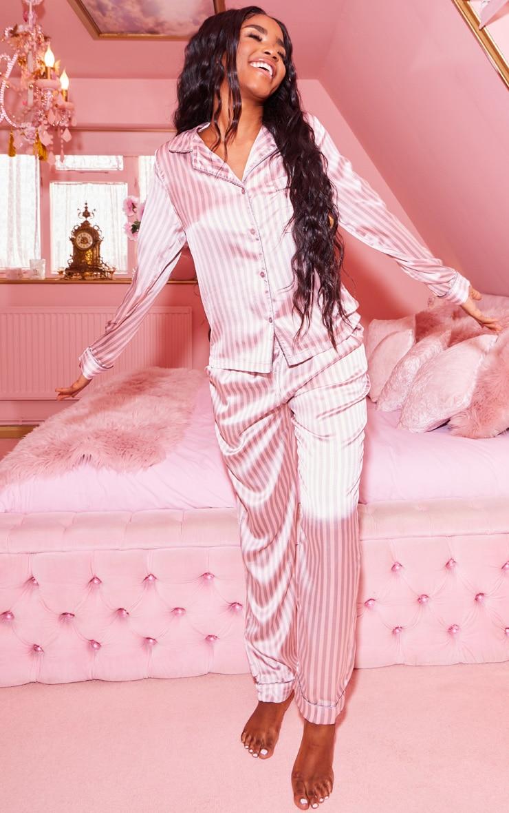 Pink And Grey Stripe Long Satin Pyjama Set  4
