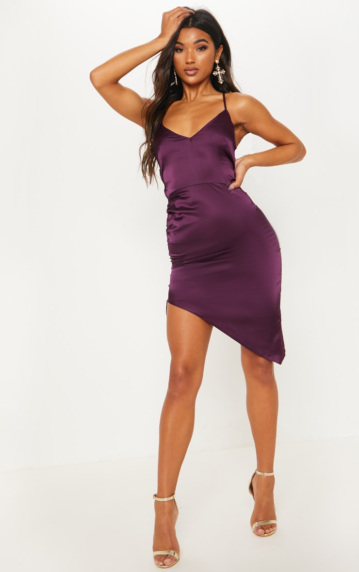 Plum Satin Ruched Lace Up Back Midi Dress 2