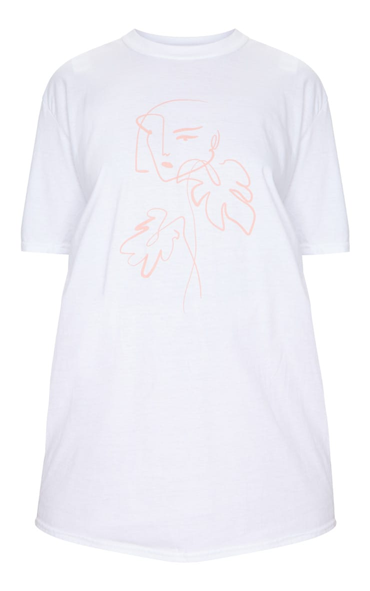 White Printed Abstract Face Oversized T Shirt 5