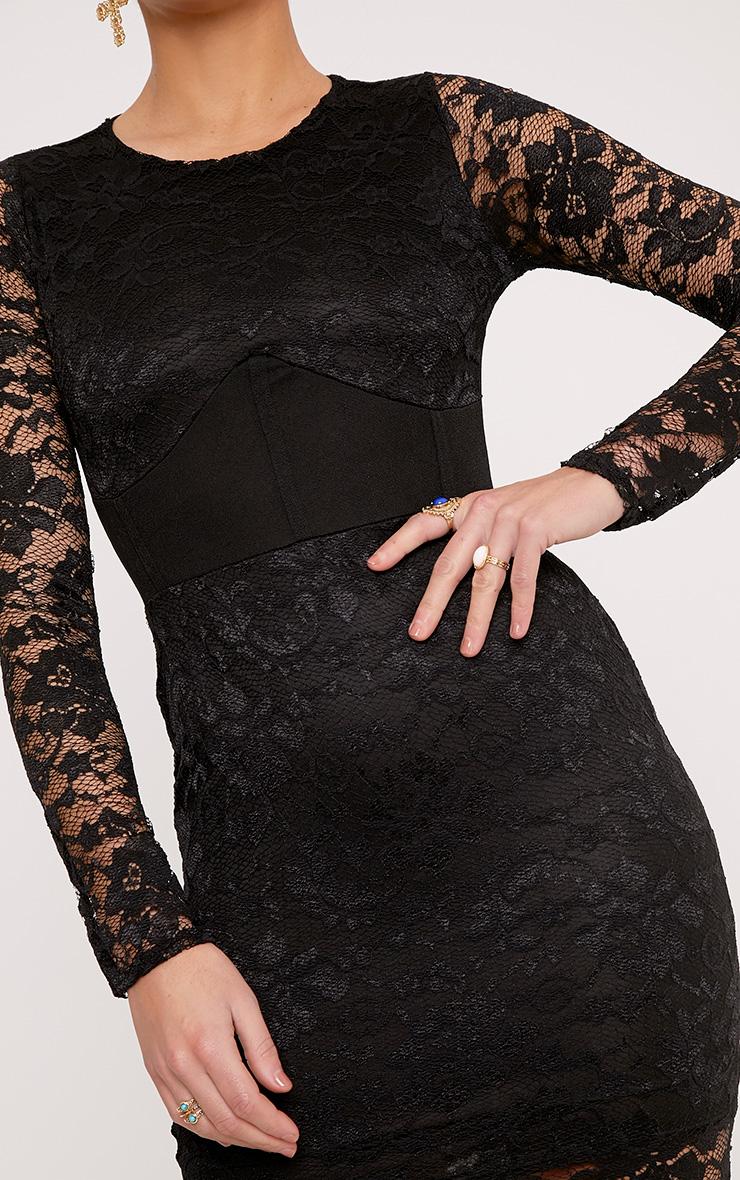Maya Black Lace Corset Detail Bodycon Dress 5