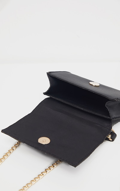 Black PU Rectangle Chain Detail Mini Bag