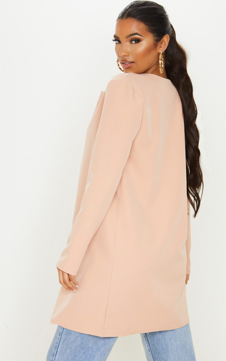 Stone Collarless Longline Jacket 2