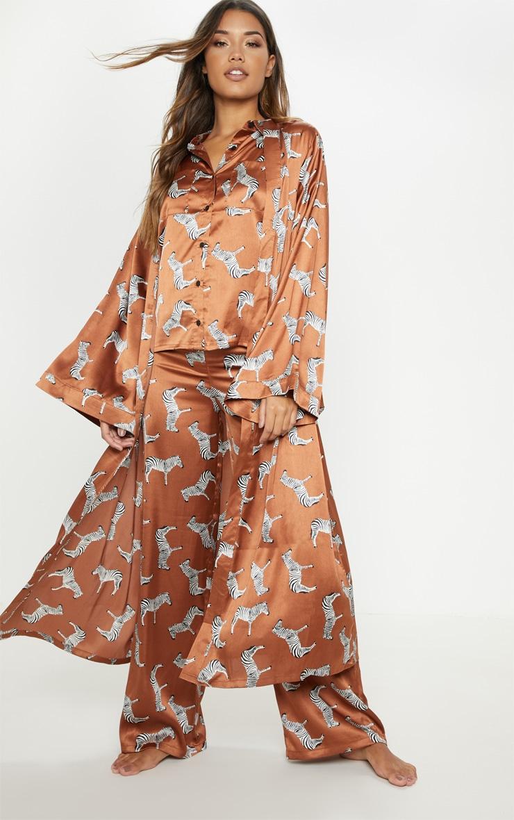 Rust Zebra Print Long Sleeve Satin Robe 1