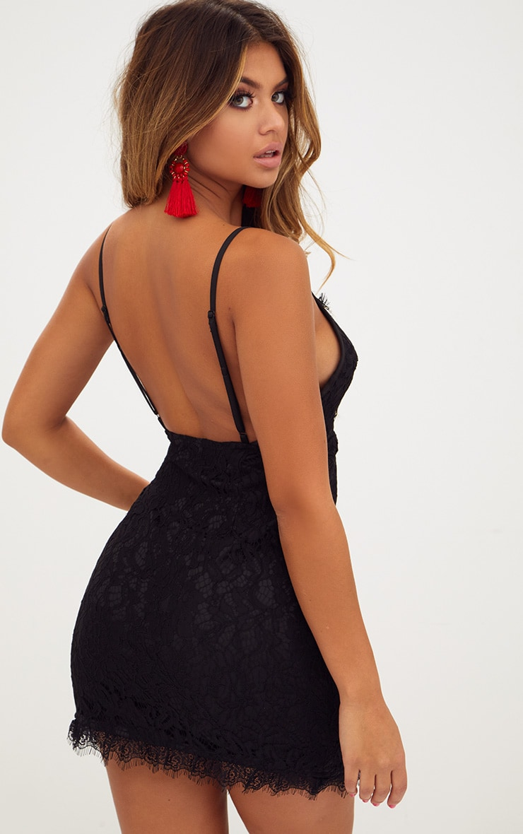 Black Strappy Lace Shift Dress 2