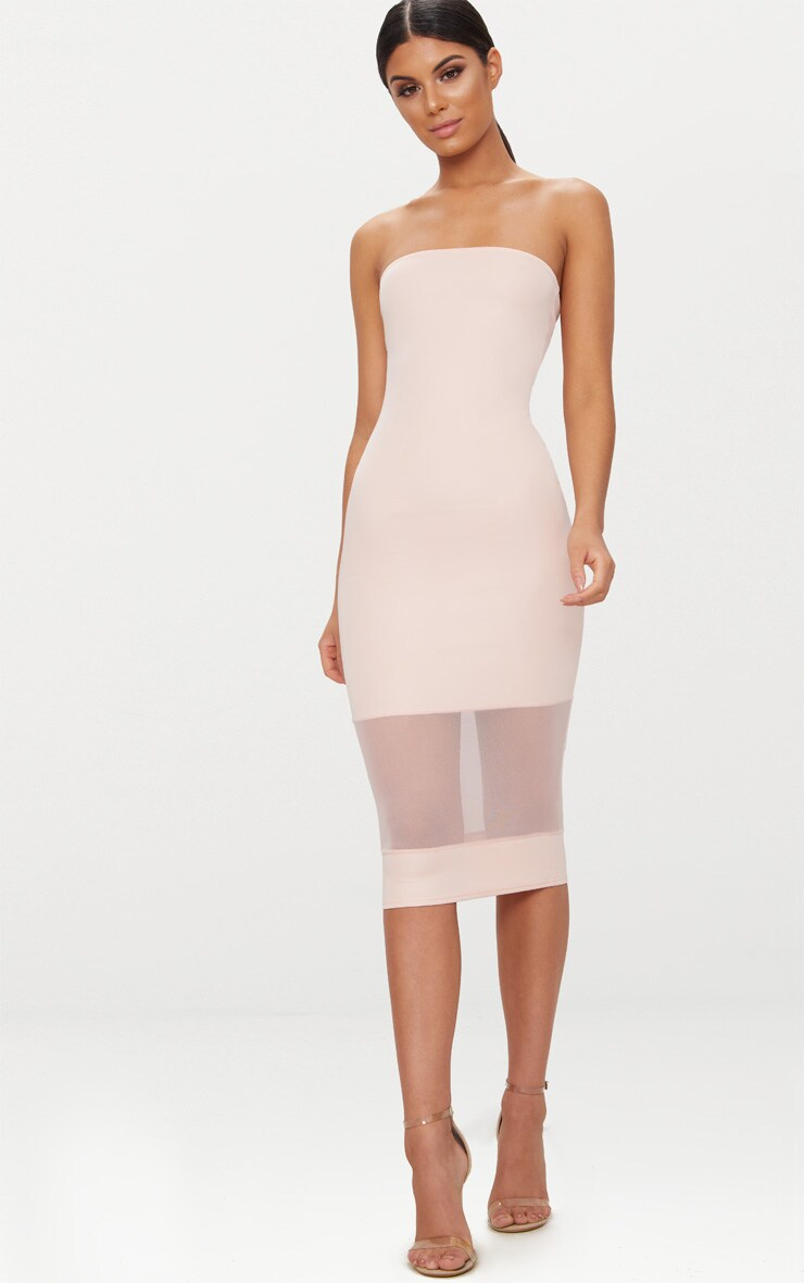 Nude Bandeau Mesh Panel Midi Dress 4