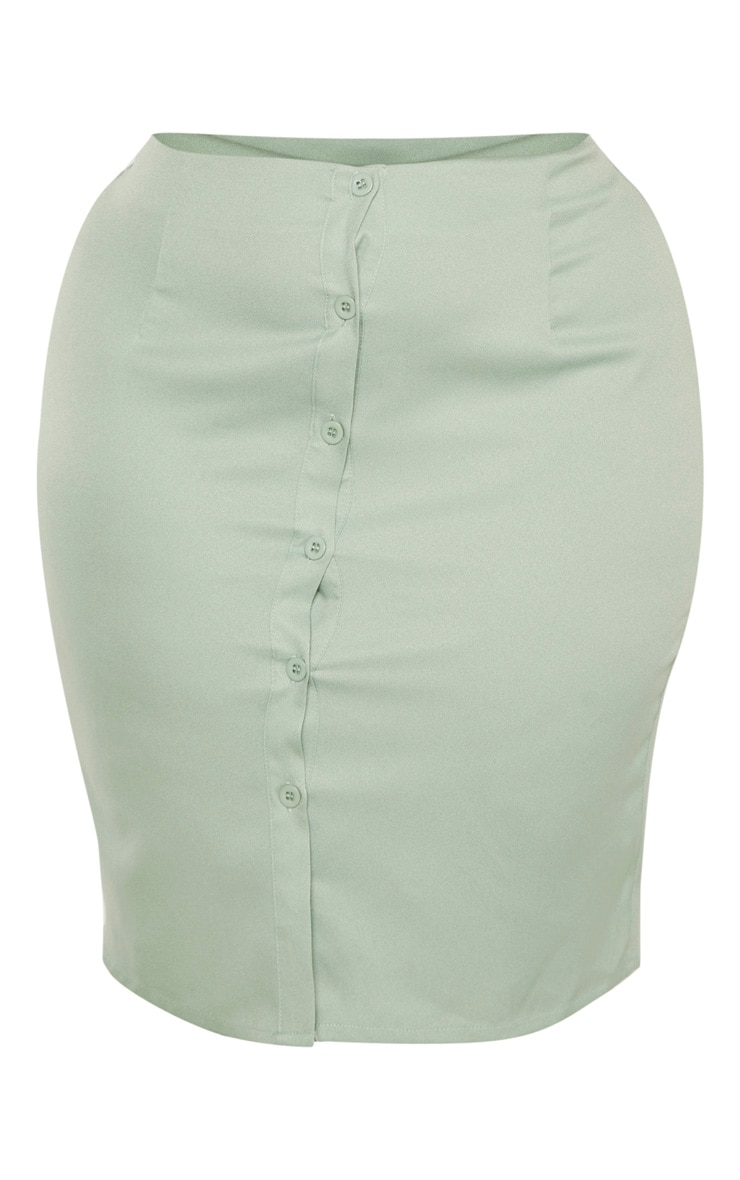 Plus Sage Green Button Midi Skirt  3