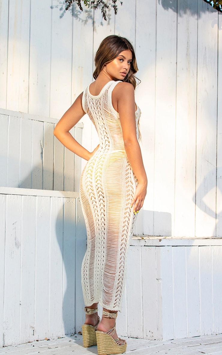 Cream Crochet Ladder Detail Maxi Dress 4