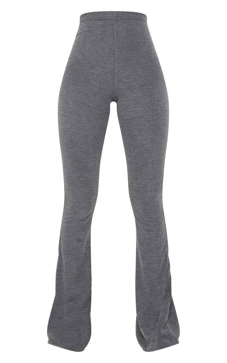 Tall Black Washed Rib Split Hem Skinny Kickflare Pants 5