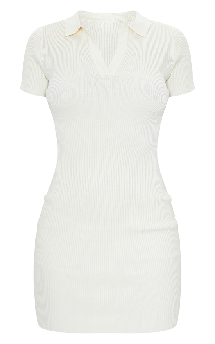 Cream Ribbed Bodycon Mini Collared Knitted Dress 5