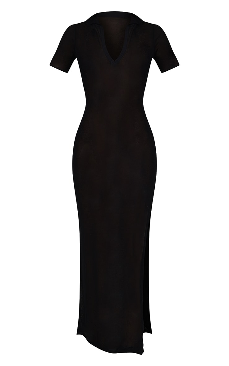 Black Sheer Knit Collar Detail Maxi Dress 5