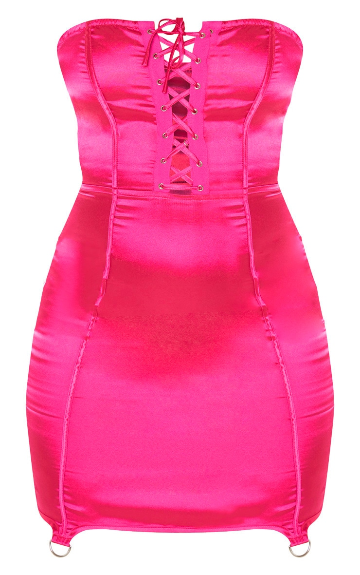 Hot Pink Satin Lace Up Detail Bandeau Bodycon Dress 3